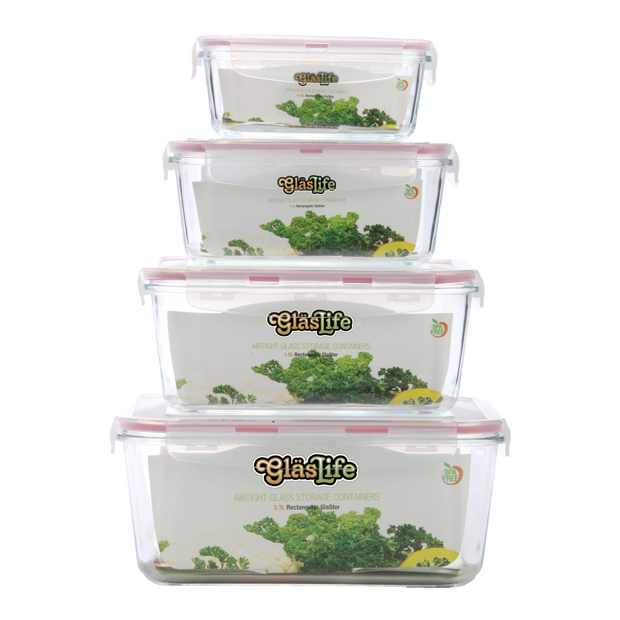 GlasLife® Air-Tight Glass Storage Container - Rectangular GLR04SN 4-Piece Set
