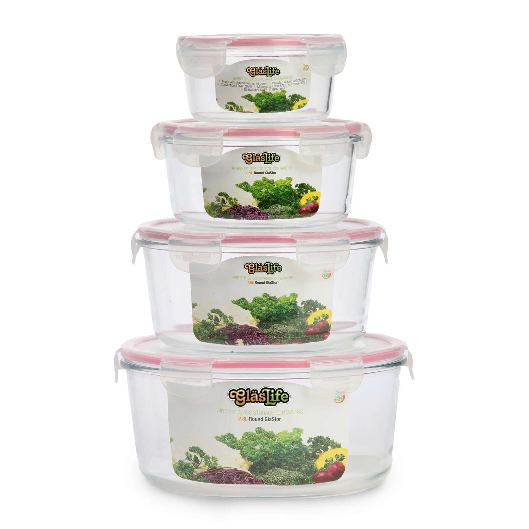 GlasLife® Air-Tight Glass Storage Container - Round GLC04SN 4-Piece Set