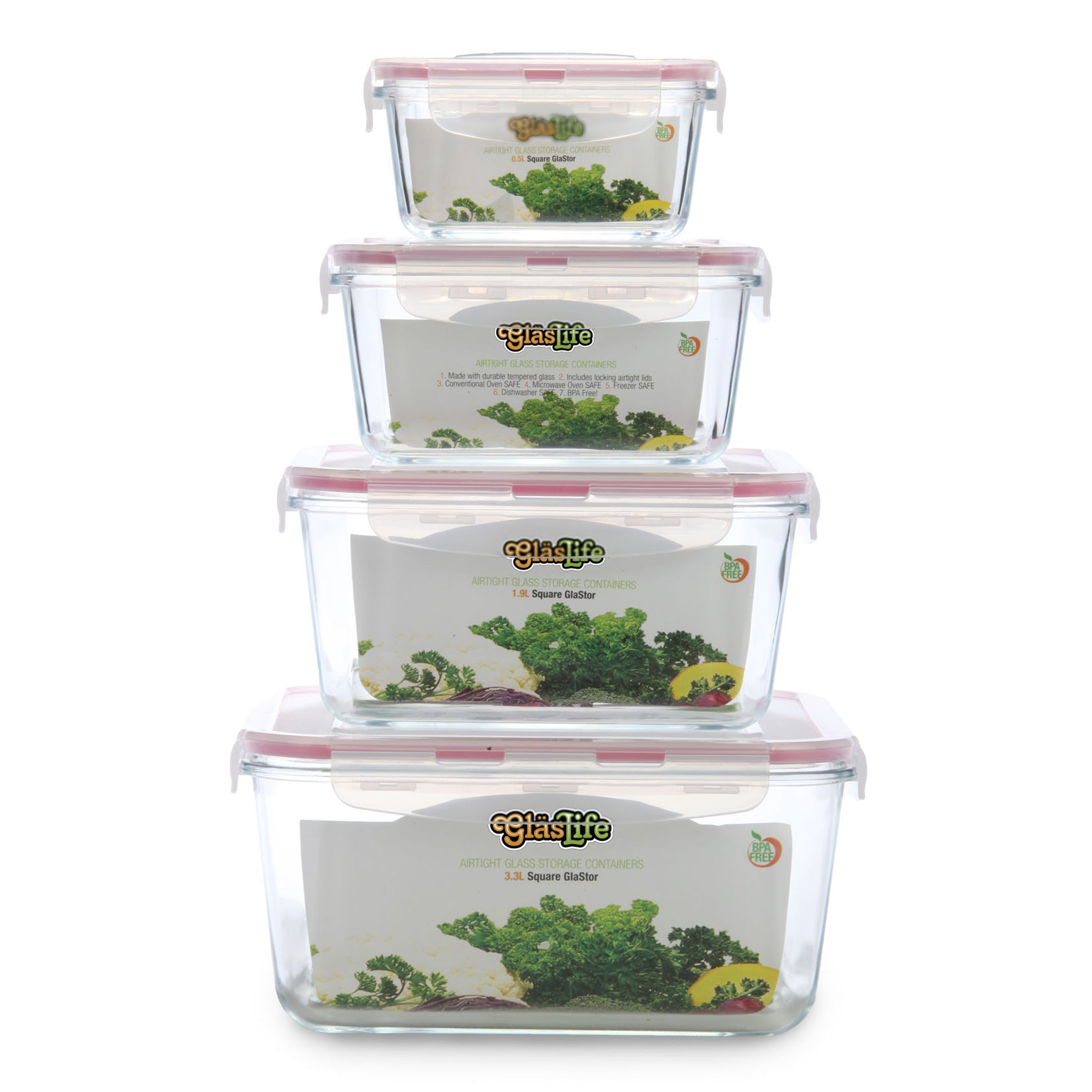 GlasLife® Air-Tight Glass Storage Container - 4 Piece Square Set GLS04SN 4-Piece Set