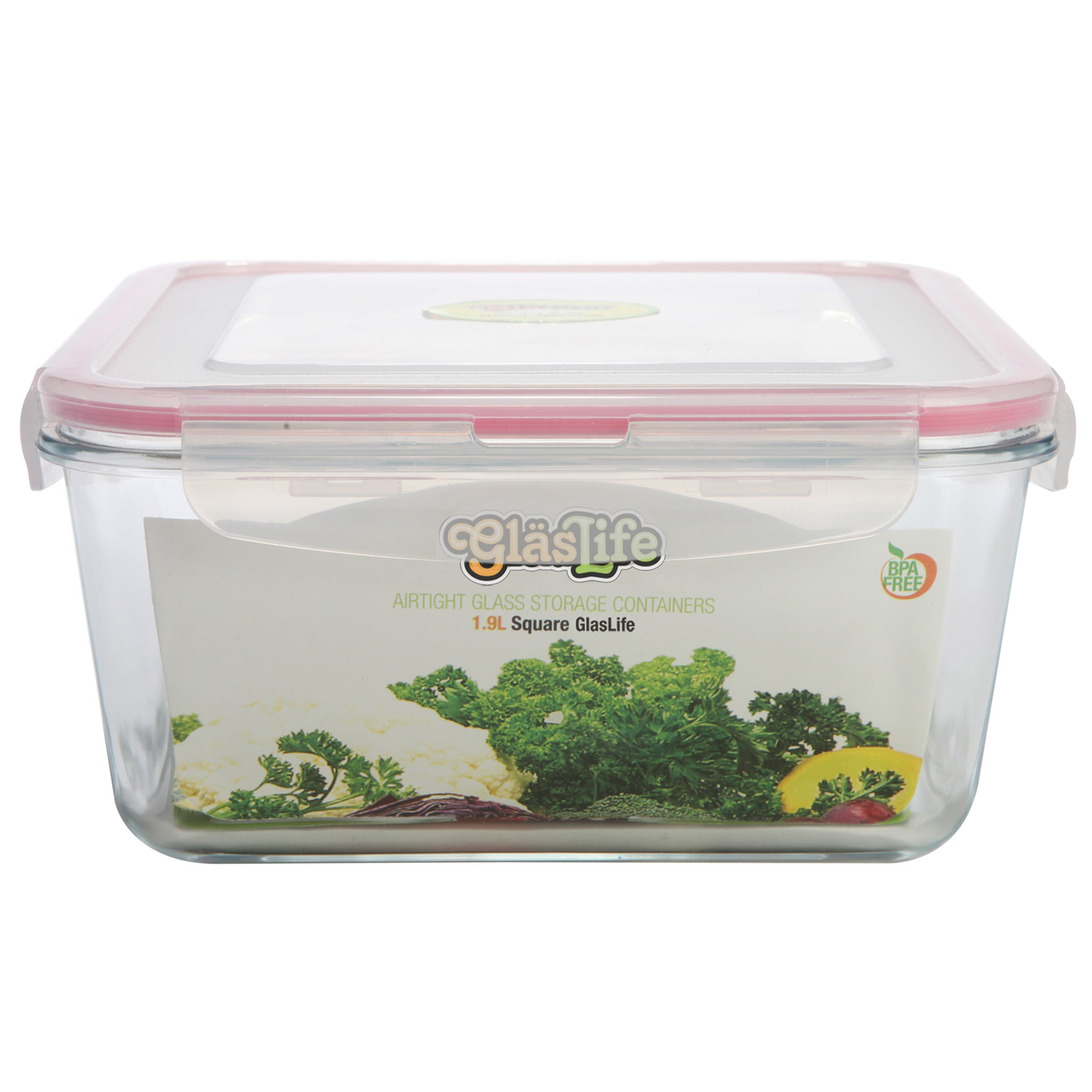 GlasLife® Air-Tight Glass Storage Container - Square GLS33 X-Large 112 oz / 3.3 L