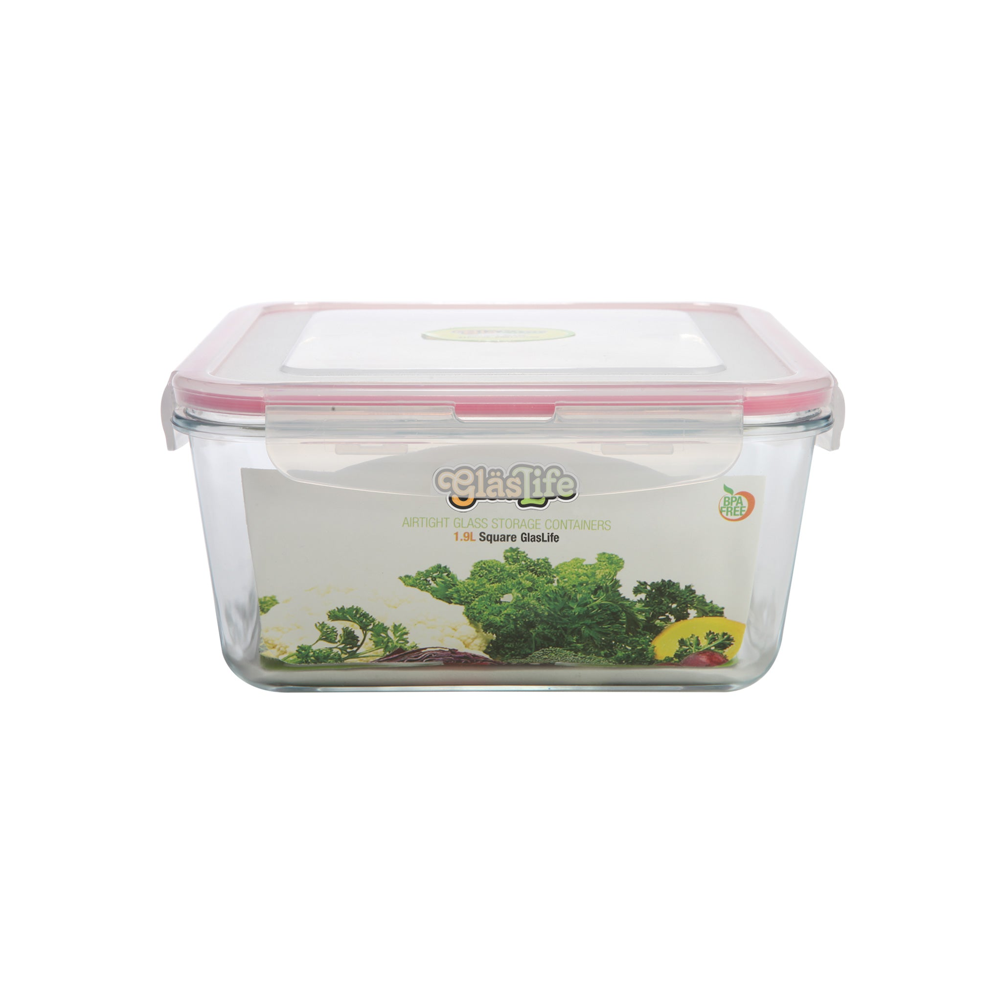 GlasLife® Air-Tight Glass Storage Container - Square  GLS10 Medium 34 oz / 1.0 L