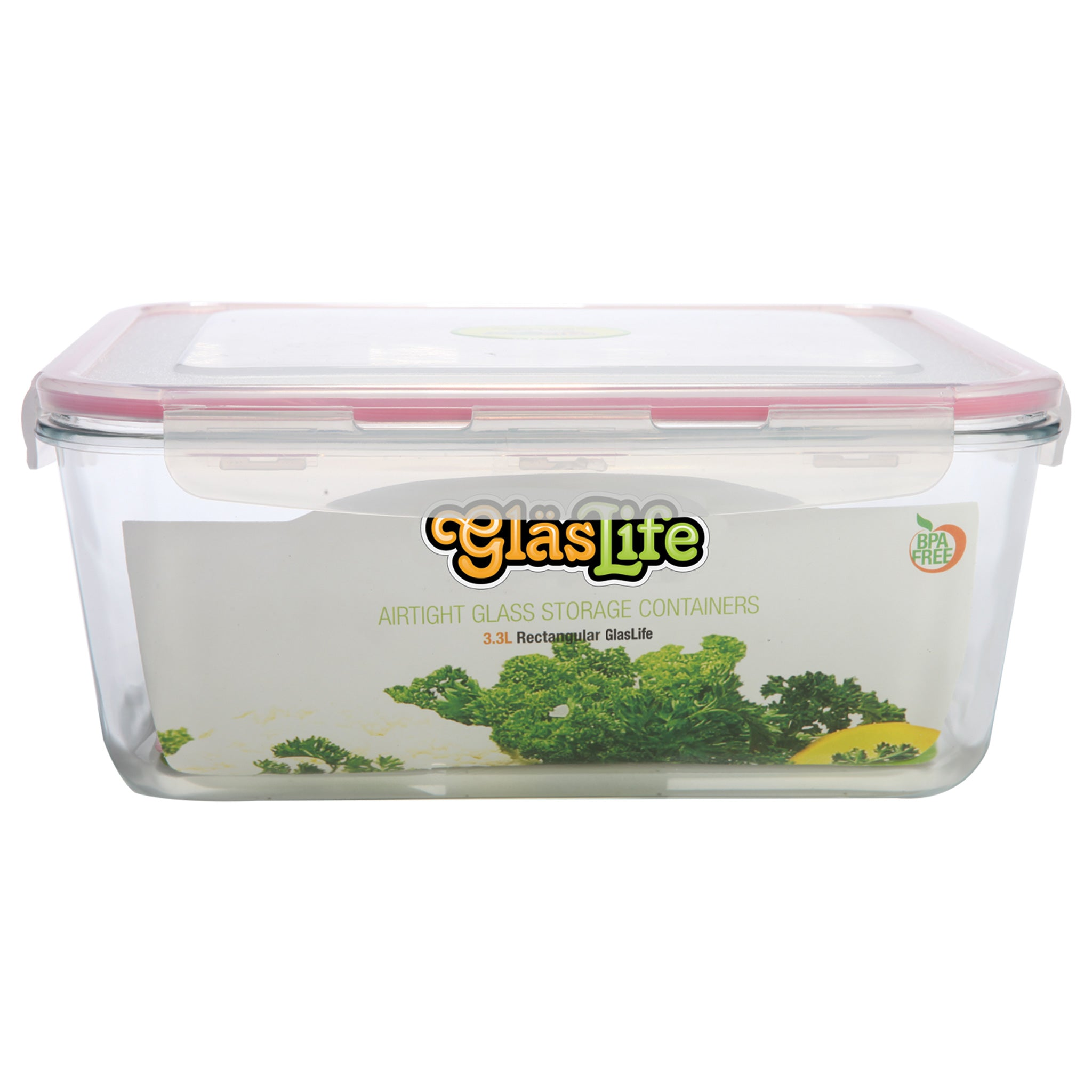 GlasLife® Air-Tight Glass Storage Container - Rectangular GLR33 X-Large 112 oz / 3.3 L