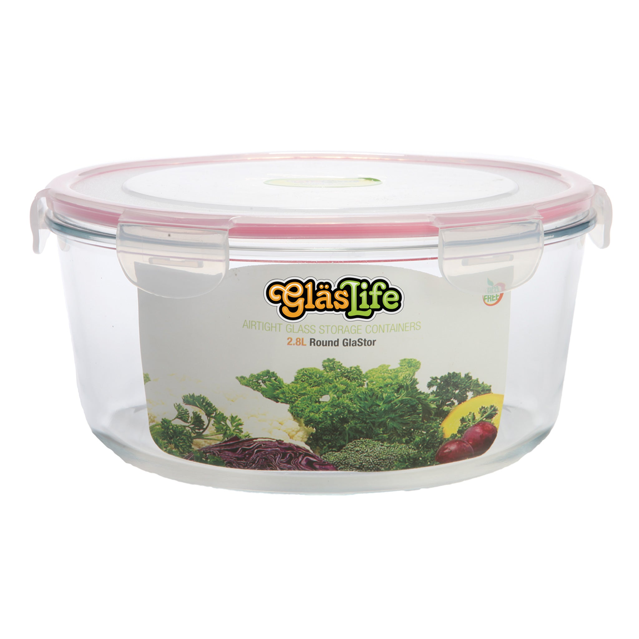 GlasLife® Air-Tight Glass Storage Container - Round GLC28 X-Large 95 oz / 2.8 L