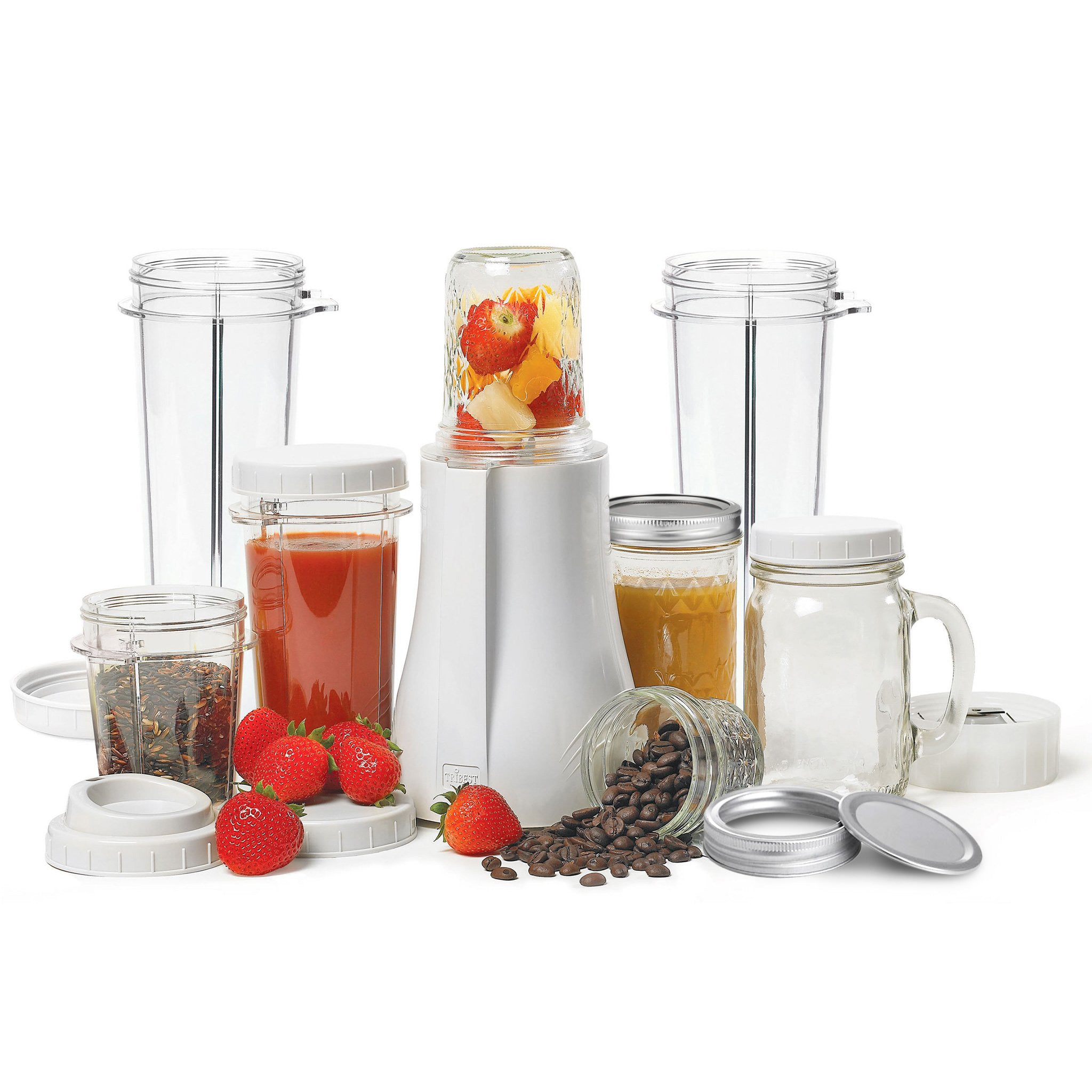 Personal Blender Original Single-Serving Blender (19-Piece Mason Jar Set with XL Cups) PB-350XL-A - Tribest