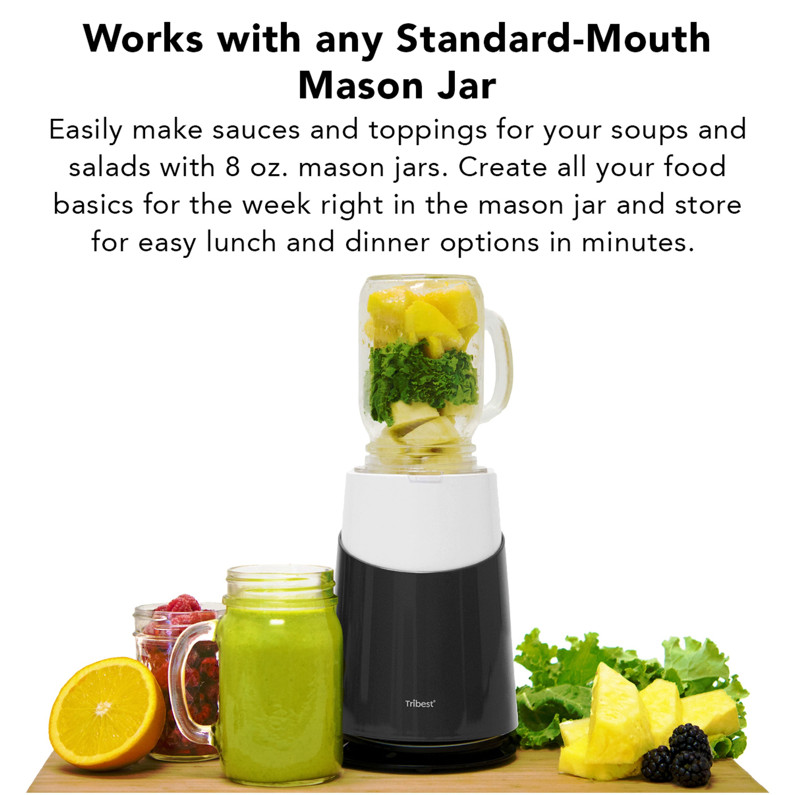 Personal Blender II® Mason Jar Ready (Basic with Mason Jar Mug 12-Piece Set) in Gray PB-430GY-A - Works with any Standard-Mouth Mason Jar - Tribest