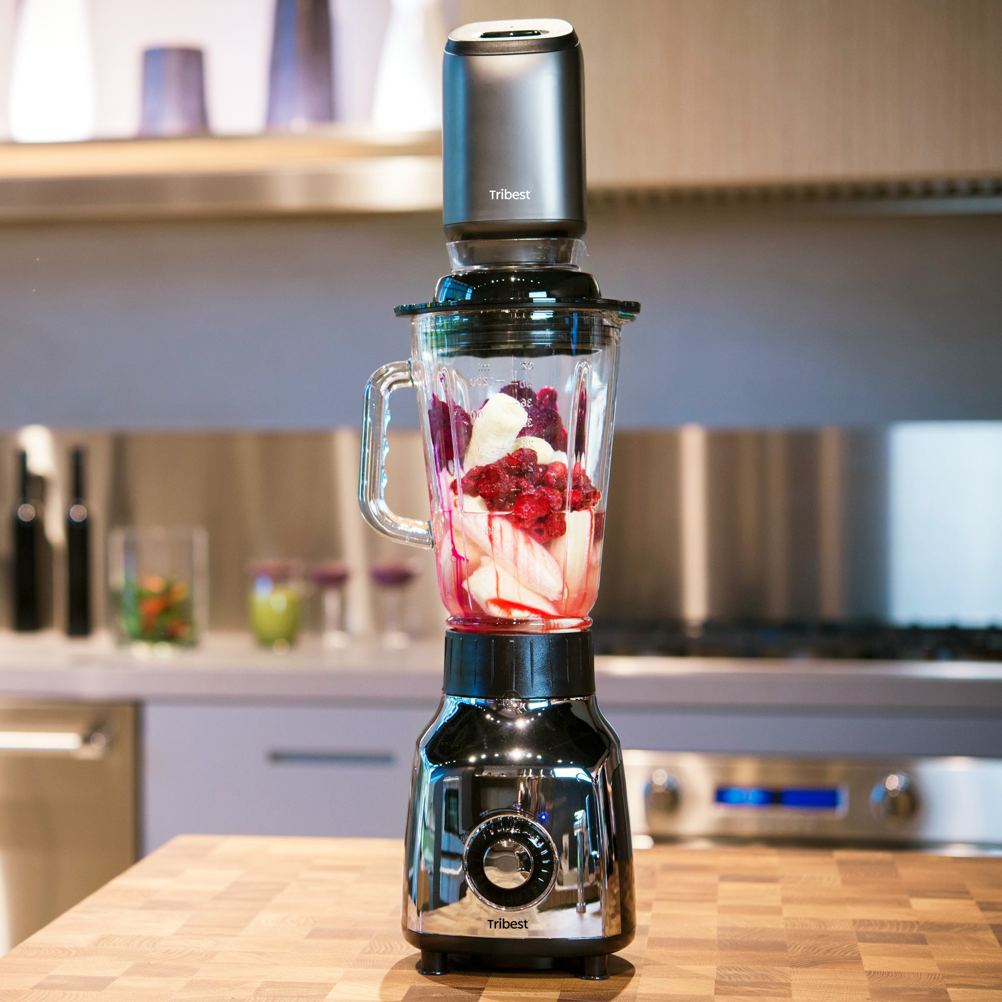 Glass Personal Blender with Vacuum PBG-5001-A -Strawberry and Banana Blend - Tribest