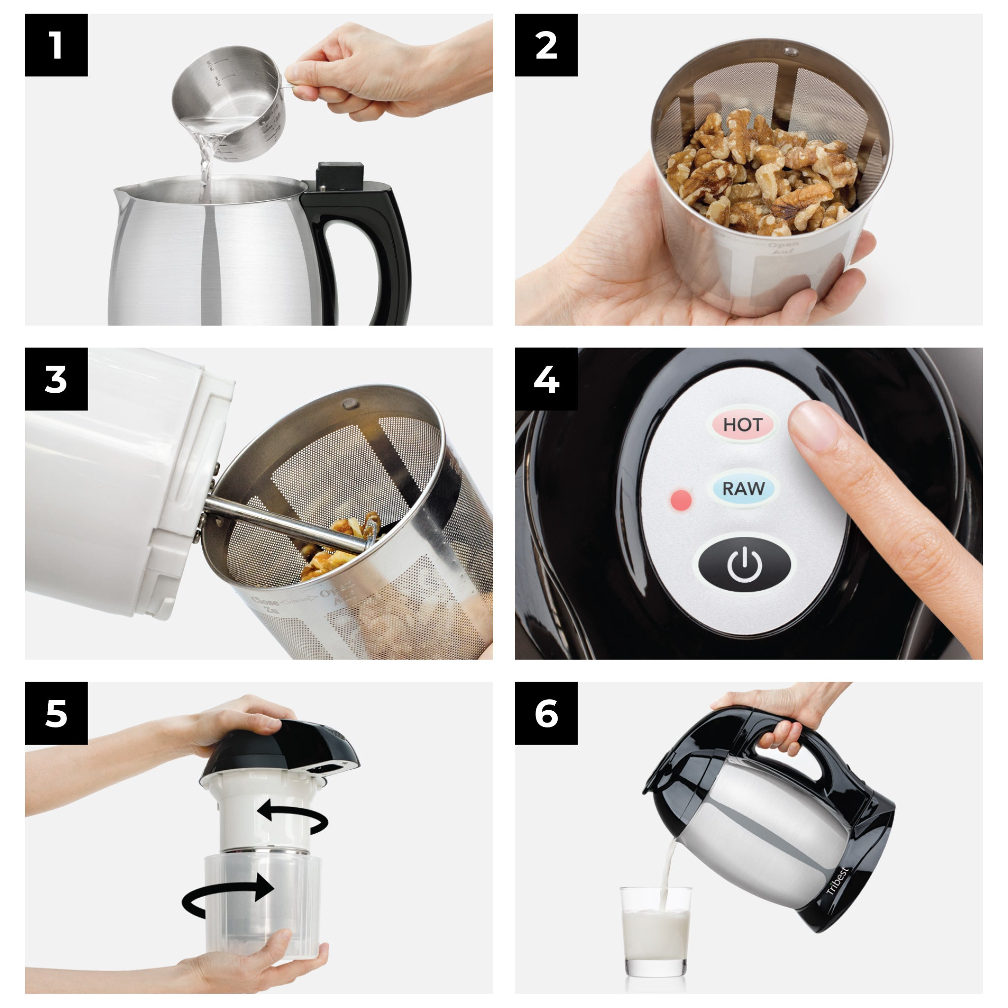 Soyabella® Automatic Nut & Seed Milk Maker with Tofu Kit in Black SB-132-B - Tribest