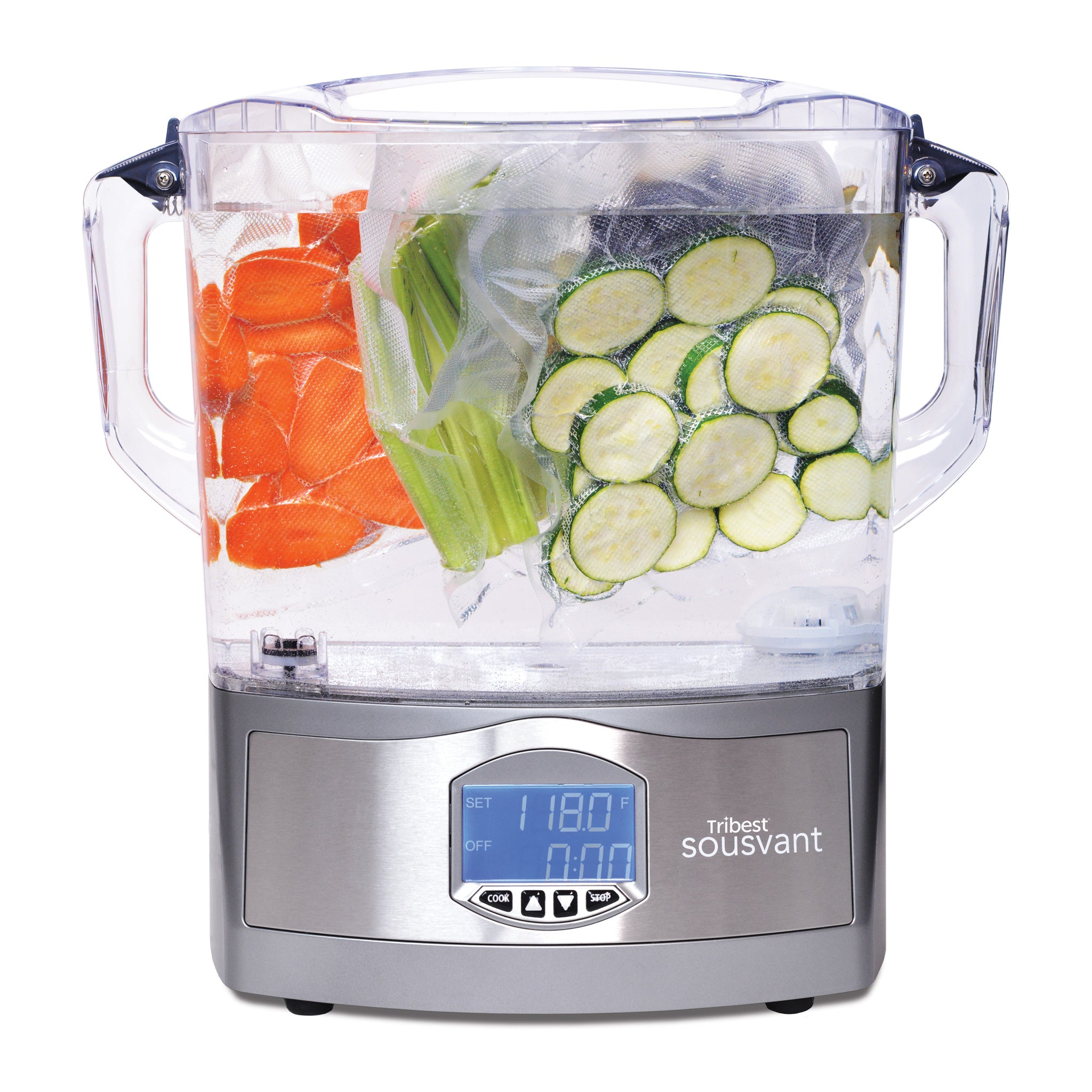 Sousvant Sous Vide Circulator SV-101 with Carrots, Celery, and Cucumbers - Tribest