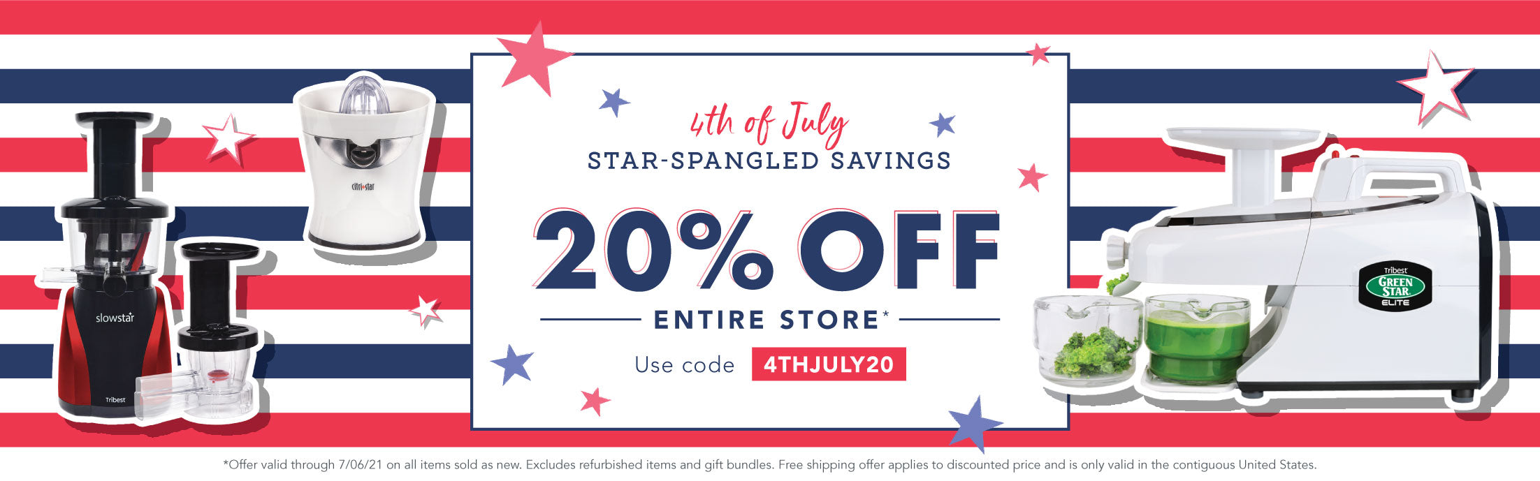 Save 20% on all items sold as new through 7/06/21 with code: 4THJULY20.