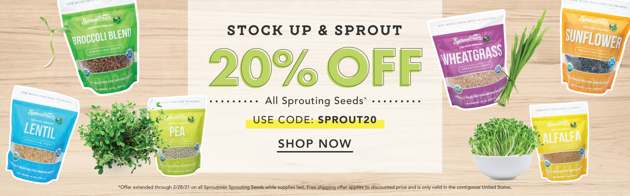 Save 20% on all Sproutman Sprouting Seeds thru 2/28/21 with code: SPROUT20