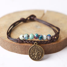 Ceramic Beaded Bracelet Zodiac Pendant