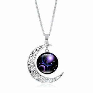 Horoscope Necklace Silver Moon Pendant