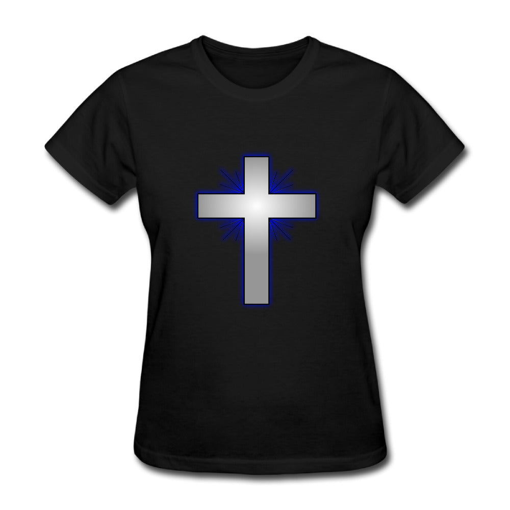 Christian Cross Transparent Women's Short Sleeve T Shirts