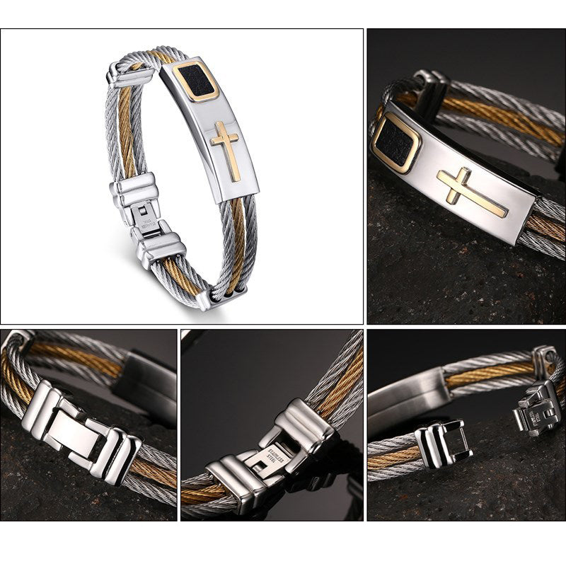 Stainless Steel Men's Bracelet 3 Wire Chain Bangle  Christian Jewelry