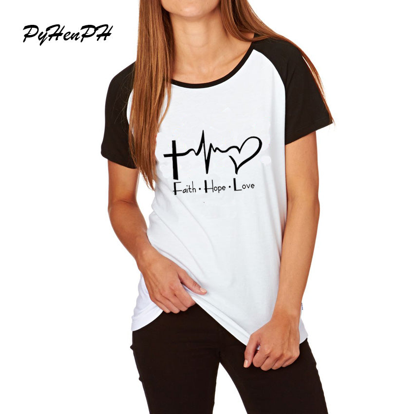 Faith Hope Love Christian T-shirt  Sleeve Loose T Shirt Woman Casual Short Sleeve