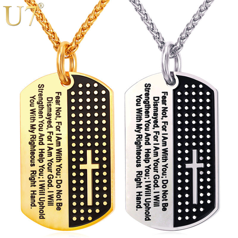 Dog Tag Cross Necklaces & Pendant Gold