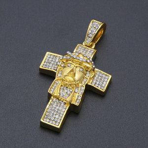 Full Rhinestone Cross &  Jesus Pendant Necklace  for Men & Women