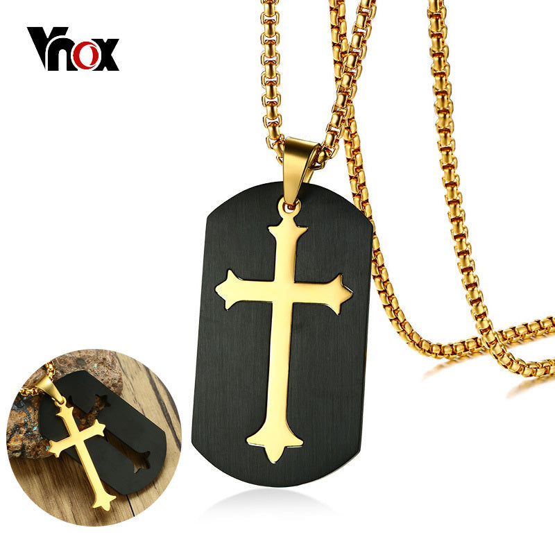 "Black Dog Tag Cross Pendant for Men  Stainless Steel Gold Color 24"" Box Chain"
