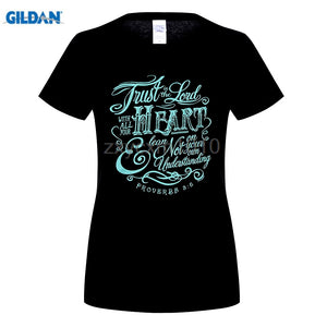 Woman t shirt Christian T-shirt Trust In The Lord Proverbs 3:5-black-small