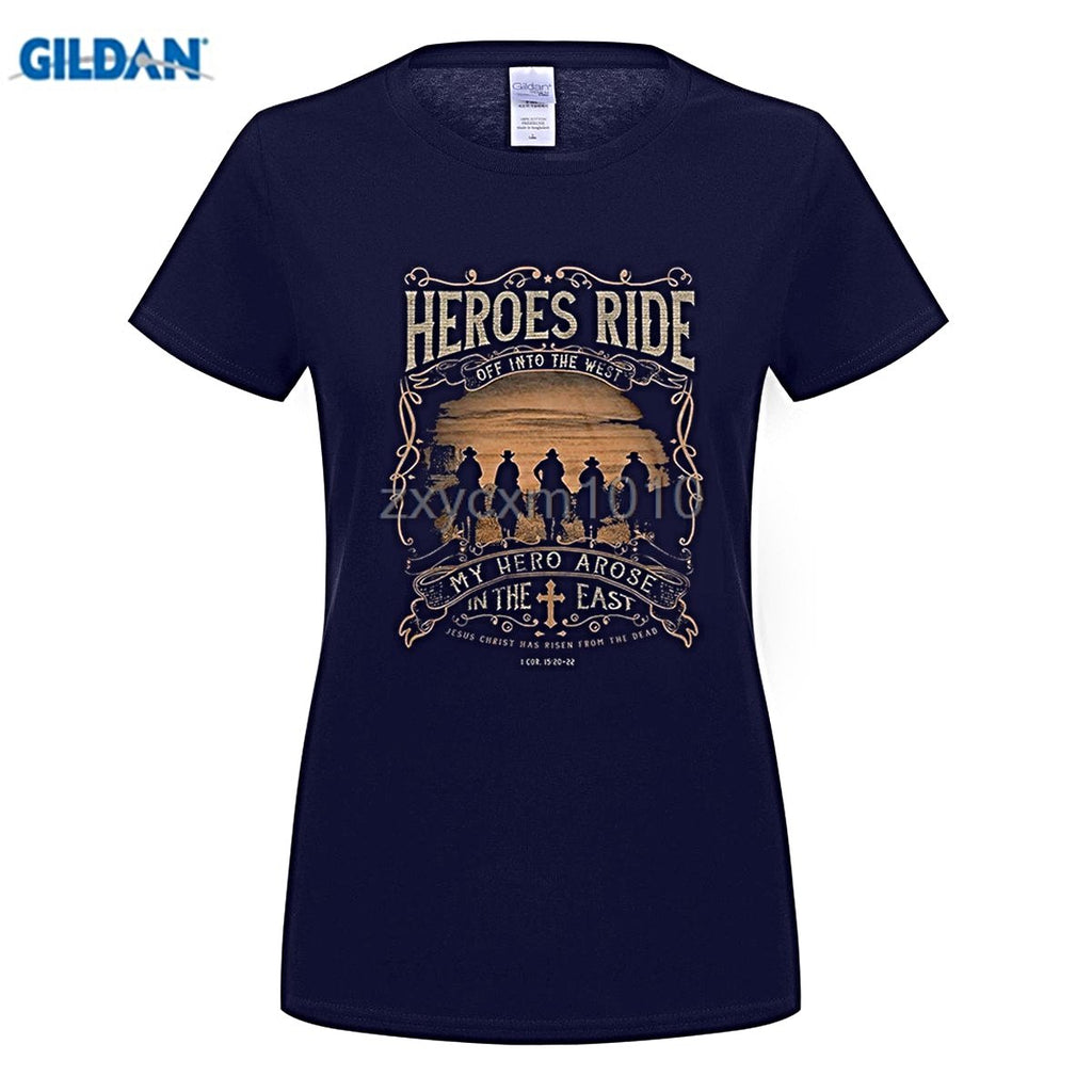 GILDAN  woman t shirt Kerusso Heroes Ride Western Christian Shirt