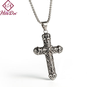 Carved Cross Pendant Titanium Steel With Necklace