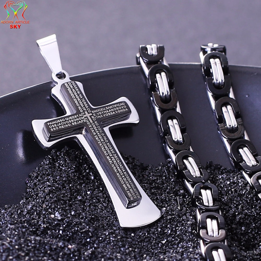 Stainless Steel  Christian Pendant  Cross Multi-story