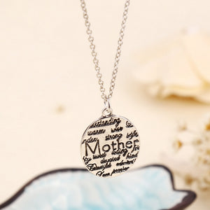 Engraved Enamel Mother Jewelry Necklace & Pendant