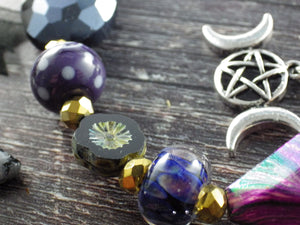 Triple Moon Goddess Wiccan Prayer Beads
