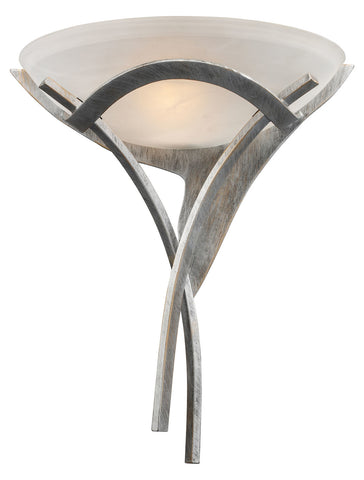One Light Tarnished Silver White Faux-Alabaster Glass Wall Light - Style: 7263842