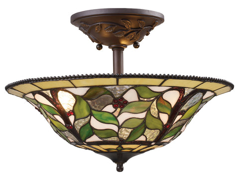 Three Light Tiffany Bronze Bowl Semi-Flush Mount - Style: 7264060