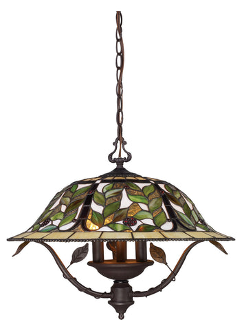 Three Light Tiffany Bronze Down Chandelier - Style: 7264062