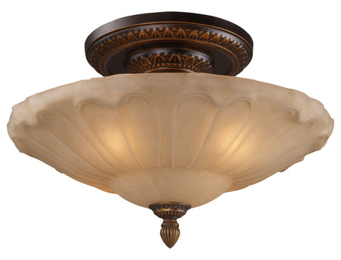 Four Light Golden Bronze Bowl Semi-Flush Mount - Style: 7264084