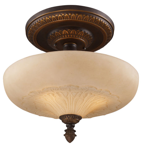 Three Light Golden Bronze Bowl Semi-Flush Mount - Style: 7264086