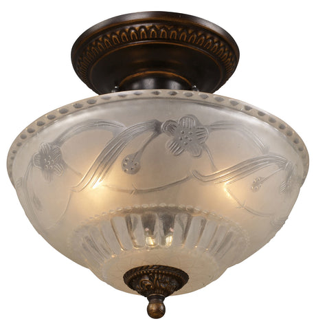 Three Light Golden Bronze Bowl Semi-Flush Mount - Style: 7264098