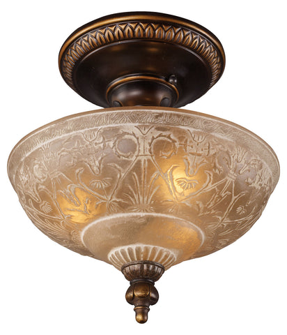 Three Light Golden Bronze Bowl Semi-Flush Mount - Style: 7264104