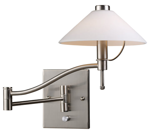One Light Satin Nickel Wall Light - Style: 7264380