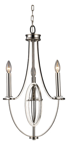Three Light Polished Nickel Up Chandelier - Style: 7264388