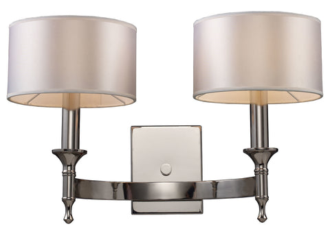 Two Light Polished Nickel Wall Light - Style: 7264394