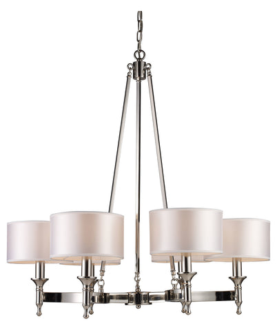 Six Light Polished Nickel Drum Shade Chandelier - Style: 7264396