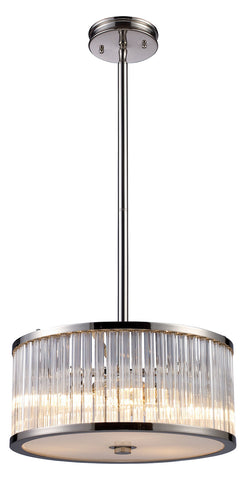 Three Light Polished Nickel Drum Shade Pendant - Style: 7264406