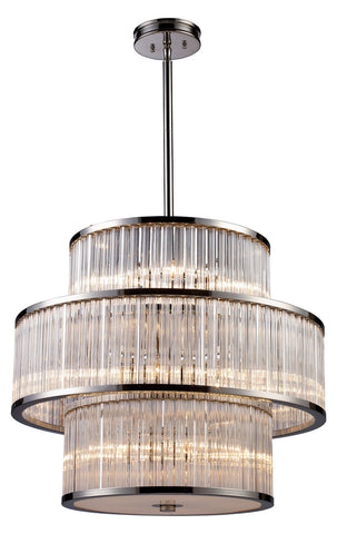 Fifteen Light Polished Nickel Drum Shade Pendant - Style: 7264410