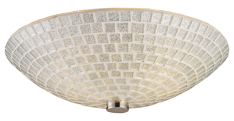 Two Light Satin Nickel Silver Mosaic Glass Bowl Flush Mount - Style: 7264412