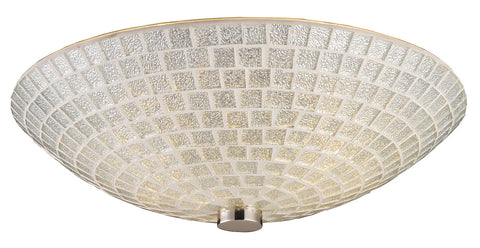 Two Light Satin Nickel Silver Mosaic Glass Bowl Flush Mount - Style: 7264414