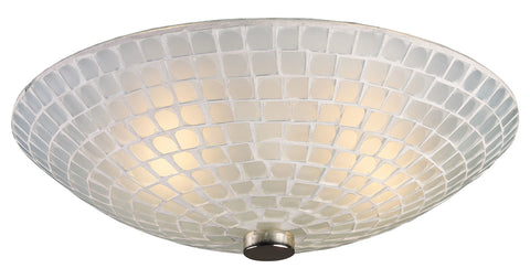 Two Light Satin Nickel White Mosaic Glass Bowl Flush Mount - Style: 7264416
