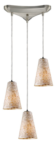 Three Light Satin Nickel Multi Light Pendant - Style: 7264444