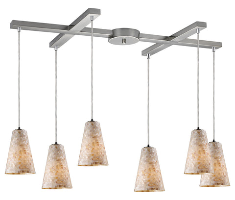 Six Light Satin Nickel Multi Light Pendant - Style: 7264448