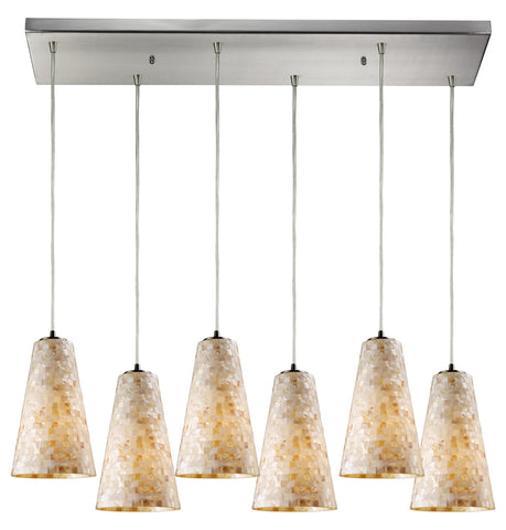 Six Light Satin Nickel Multi Light Pendant - Style: 7264450