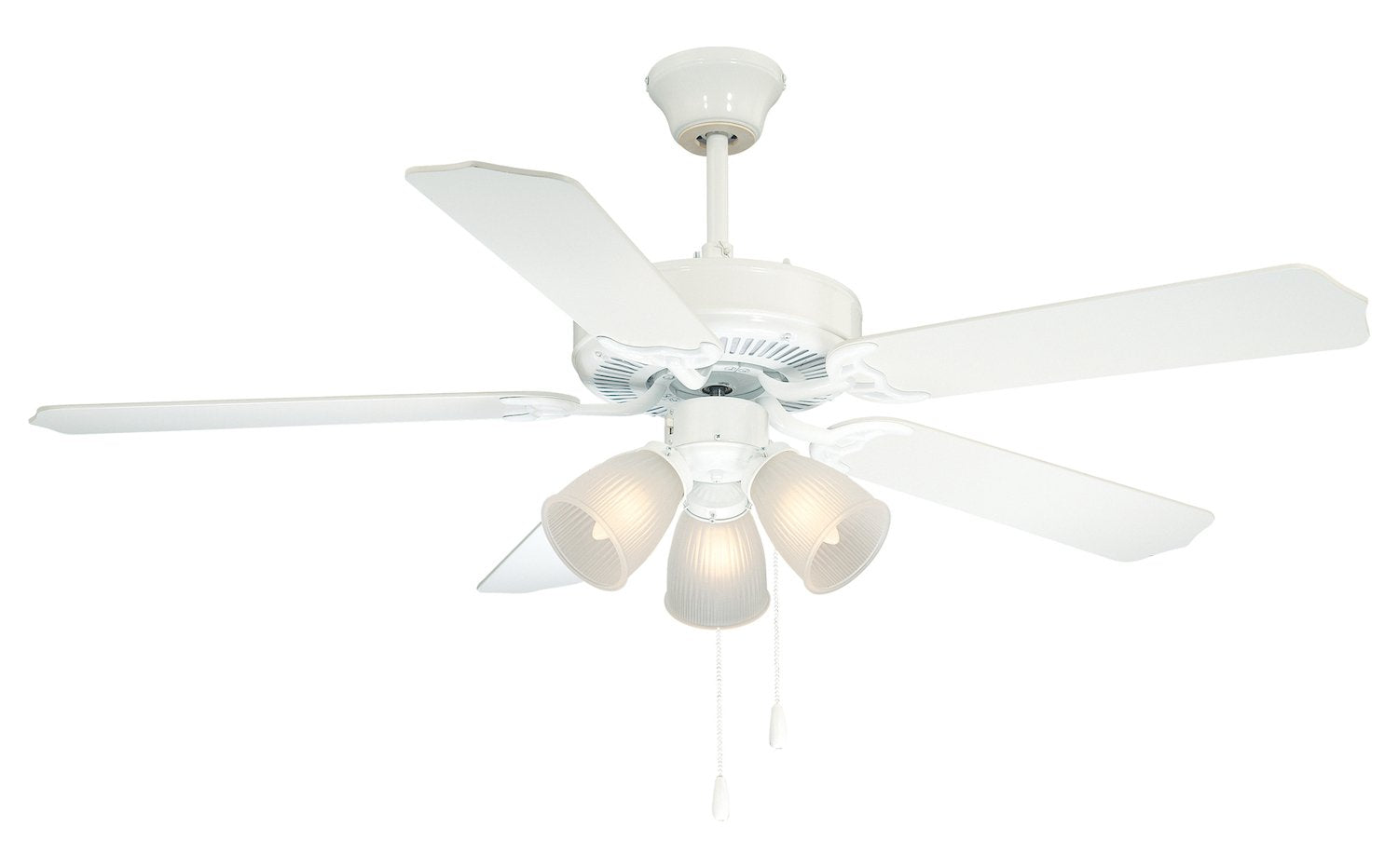 Three Light White Satin White Frosted Glass Ceiling Fan - Style: 7292866