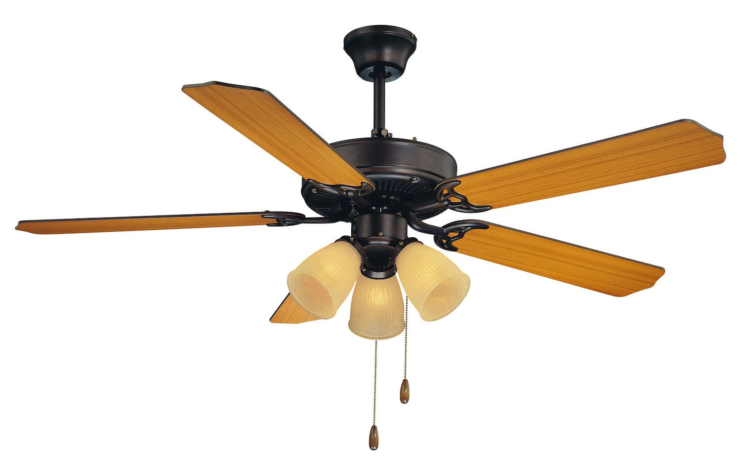 Three Light English Bronze Cream Frosted Ribbed Glass Ceiling Fan - Style: 7293288