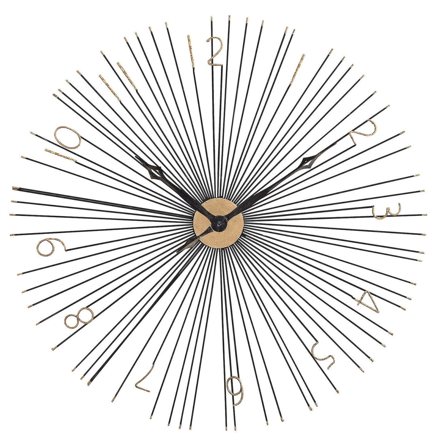 Shockfront Black And Gold 36-Inch Metal Wall Clock - Style: 7985744
